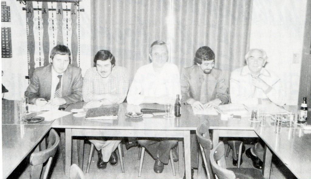Der geschäftsführende Vorstand in der Session 1981/1982: Toni Theisen, Franz-Josef Auer, Heinz Naeven, Willy Thelen und Jean Decker (v.l.)